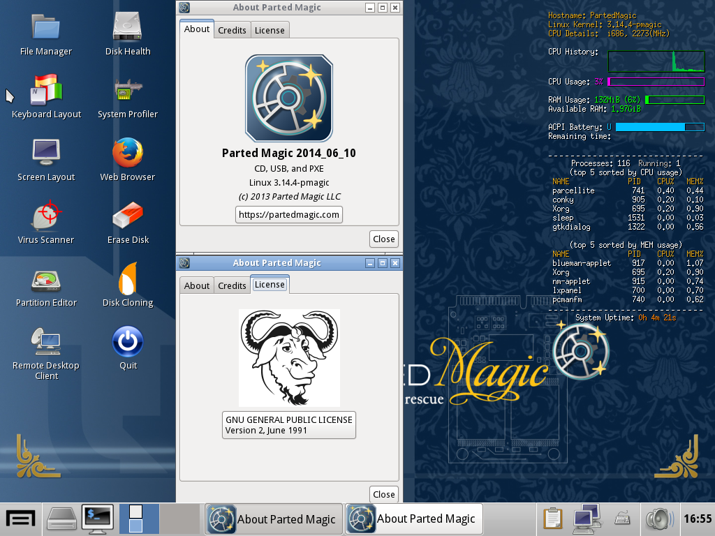 Parted Magic linux 2013_08_10 – the last free version